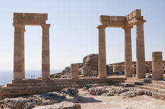 Rhodes greece. Acropolis of Lindos with its temples and the picturesque view of the sea stock images
