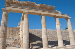 Rhodes greece. Acropolis of Lindos with its temples and the picturesque view of the sea royalty free stock images