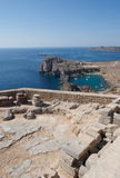 Rhodes greece. Acropolis of Lindos with its temples and the picturesque view of the sea stock photos