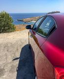 Alfa romeo giuletta is up to the hill parked stock images