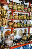 Sale of ceramic products of modern masters of Greece. Rhodes, Greece royalty free stock photos