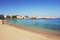 Rhodes, Greece. Beach in the historic town of Rhodes, Greece Stock Photography
