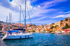 Rhodes, Greece - Colored island of Symi stock image