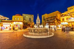 Hippocrates fountain, Rhodes old town Stock Photography