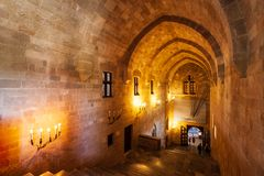 Grand Master Palace in Rhodes. RHODES, GREECE - MAY 13, 2018: Palace of the Grand Master in the old town of Rhodes Greece royalty free stock photography