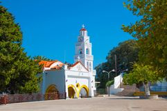 Rhodes, Greece - August 11, 2018: Monastery of the Virgin Tsambiki on the island of Rhodes, Greece stock photo