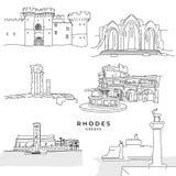 Rhodes Greece-oriëntatiepuntentekeningen royalty-vrije illustratie