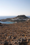 Rhodes greece. Overview of Lindos with Acropli royalty free stock photography