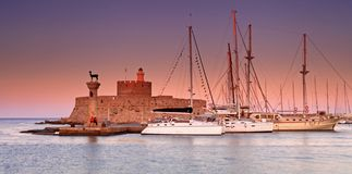 Rhodes Greece at sunset Stock Image