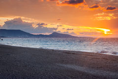 Rhodes Greece Sunset. Sunset on the beach at Rhodes in the Dodecanese Greece Europe Royalty Free Stock Photos