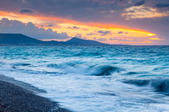 Rhodes Greece Sunset. Sunset on the beach at Rhodes in the Dodecanese Greece Europe Stock Photography