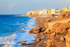 Rhodes Greece Sunset. Sunset on the coast at Rhodes Greece Europe Royalty Free Stock Photo