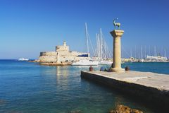 Rhodes, Greece. Rhodes, View of the Mandraki harbor Royalty Free Stock Photo