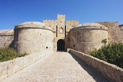 Rhodes, Greece. Rhodes, view of the medieval walls Royalty Free Stock Image