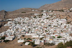 Rhodes greece. The white houses of Lindos stock photo