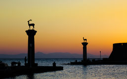 Rhodes Harbor Entrance 1 royalty free stock images