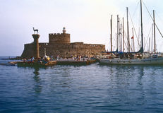 Rhodes Harbor, Greece royalty free stock photography