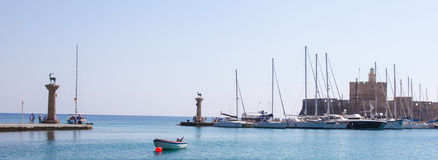 Rhodes harbour, Dodecanese, Greece Royalty Free Stock Photography