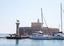 Rhodes harbour, Dodecanese, Greece Royalty Free Stock Images
