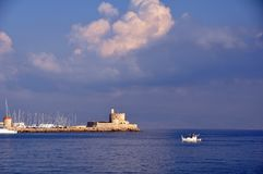 Rhodes harbour greece Stock Photography