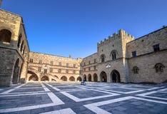 Rhodes Island, Grécia, um símbolo do Rodes, o palácio famoso do grão-mestre dos cavaleiros fotos de stock royalty free