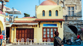 RHODES ISLAND GREECE December 2014 restaurant in  old town Stock Images