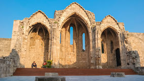 RHODES ISLAND, GREECE December 2014  The ruin of old church Stock Photography
