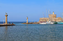 Rhodes island in Greece. The port Royalty Free Stock Images