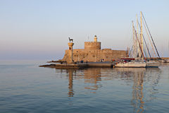 Rhodes island in Greece. The port Royalty Free Stock Image