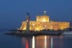 Rhodes island in Greece. The port Royalty Free Stock Photos