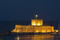 Rhodes island in Greece. Saint Nikolaos fortress at Rhodes island in Greece Royalty Free Stock Photos