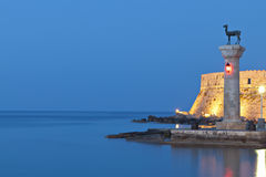 Rhodes island in Greece. Saint Nikolaos fortress and the statue of the Deer at Rhodes island in Greece Stock Photography