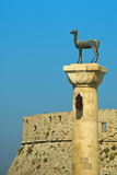 Rhodes island in Greece. Staue of the Deer Stock Images