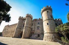 Rhodes Island Grekland, ett symbol av Rhodes, den berömda slotten för storslagen förlage för riddare Fotografering för Bildbyråer