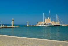Rhodes island harbor in summer greece. Rhodes island sea harbor in summer greece royalty free stock photography
