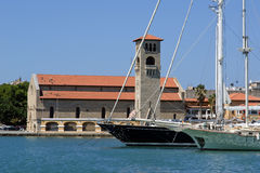 Rhodes island landmark, Mandraki Port, Greece Stock Photography