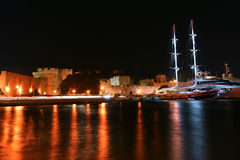 Rhodes island landmark, Mandraki Port, Greece Stock Photo