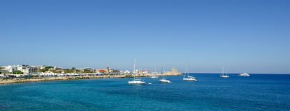 Rhodes island landmark, Mandraki Port, Greece Stock Images