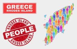 Rhodes Island Map Population Demographics e filigrana Textured ilustração royalty free