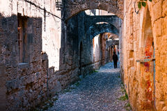 Rhodes Island Old Town streets Royalty Free Stock Photos