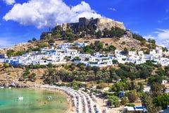 Rhodes island - popular Lindos bay with Acropolis castle. Landmarks of Greece royalty free stock photos
