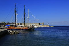Rhodes Island port Royalty Free Stock Image