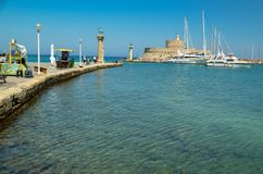 Rhodes island harbor in summer greece. Rhodes island sea harbor in summer greece stock image