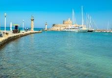 Rhodes island harbor in summer greece. Rhodes island sea harbor in summer greece stock photo