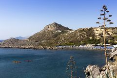 Rhodes island, summer day on picturesque bay of Ladiko, great for snorkeling with a sandy beach, Aegean sea, Dodecanese Islands, G. One of the most popular stock photos