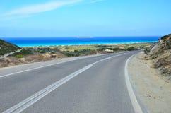 Rhodes Island - väg Arkivbild