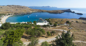 Rhodes island. View at Lindou Bay from Lindos Rhodes island, Greece Royalty Free Stock Images