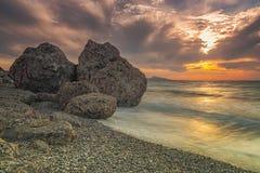 Rhodes Kato Petres Beach au coucher du soleil images libres de droits