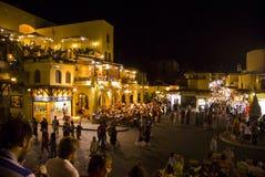 Rhodes la nuit Images libres de droits