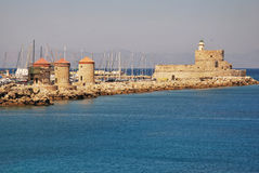 Rhodes Landmark Mandraki Port Stock Images